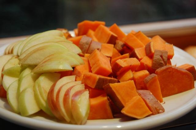 Sweet Potato Pink Lady Apple Chopped