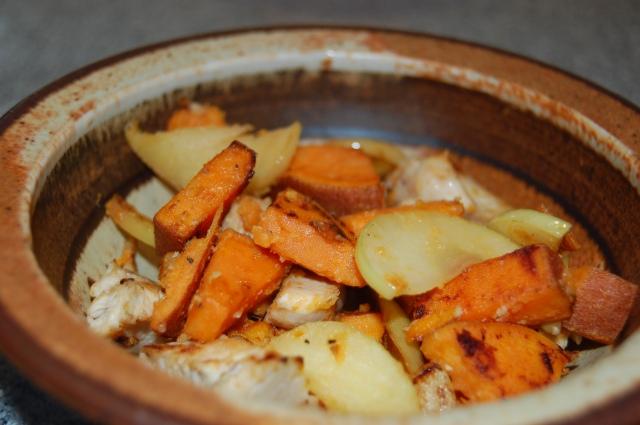 Sweet Potato, Apple, and Chicken Hash