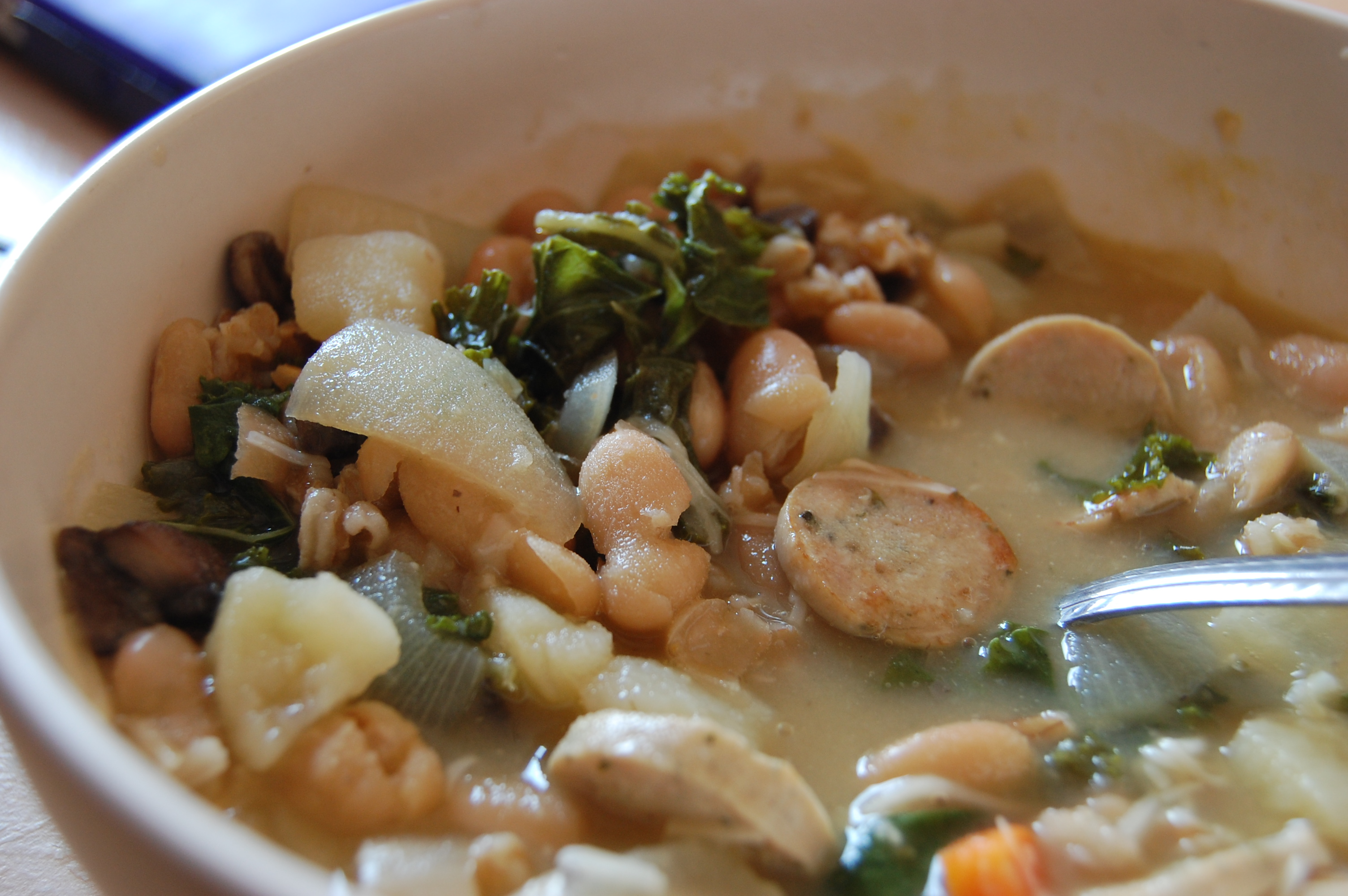 Watch White Beans, Sausage and Arugula video