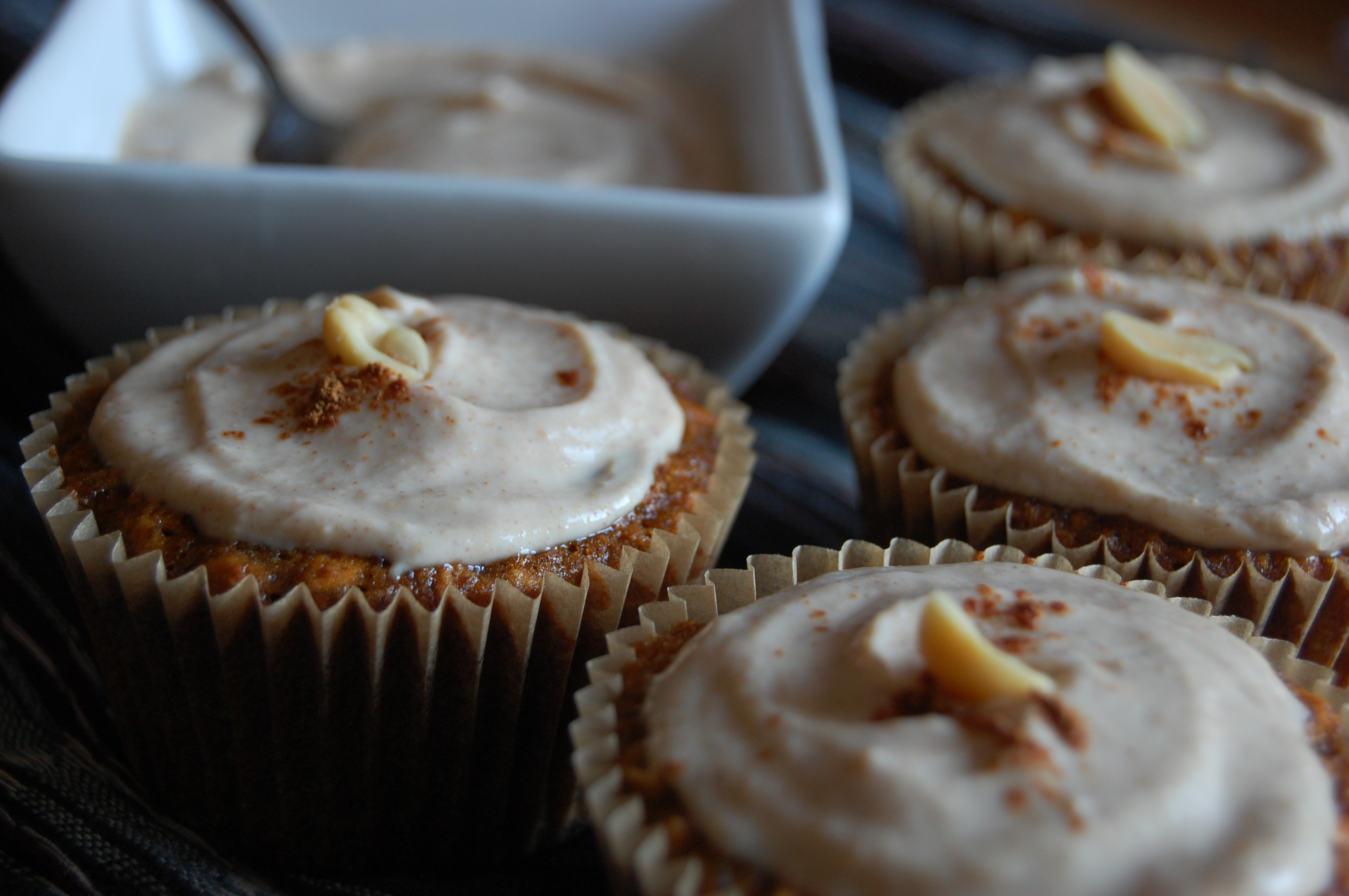 Banana Nut Cupcakes with Peanut Butter Chobani Greek Yogurt Frosting