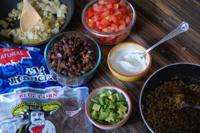 Lentil and Green Chile Nachos Prep