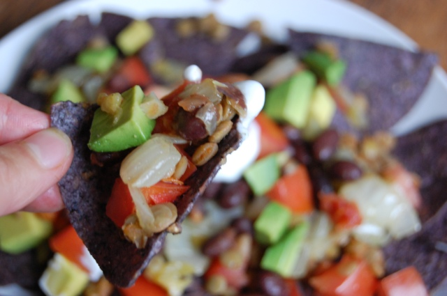 Quick Healthy Lentil and Green Chile Nachos