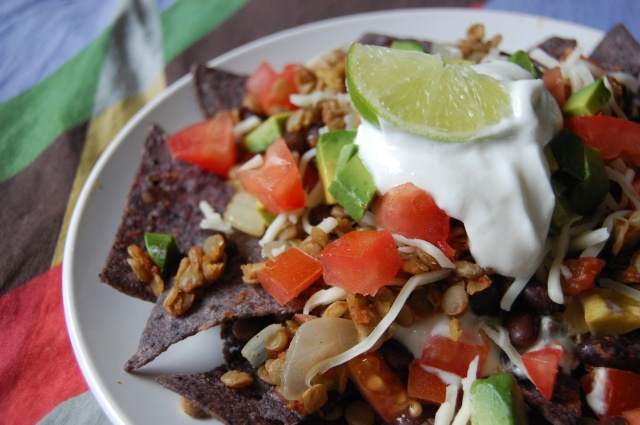 Lentil and Green Chile Nachos